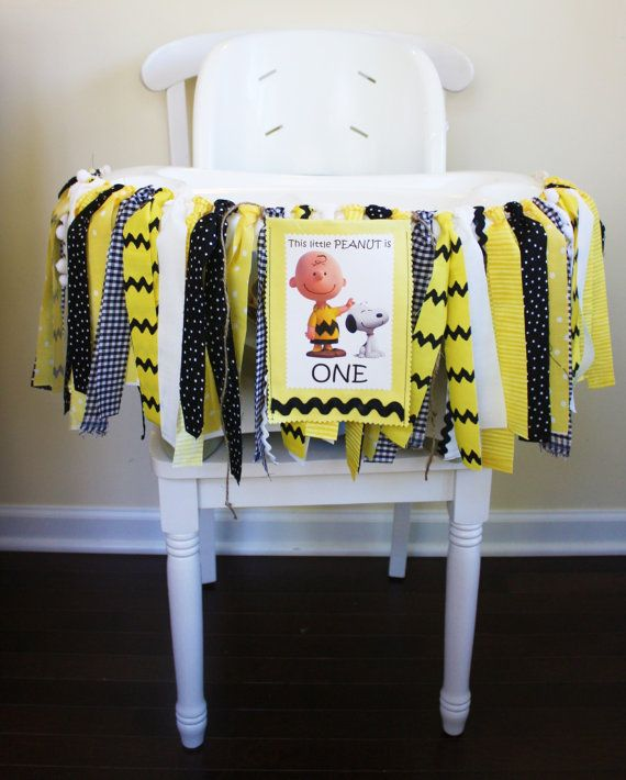 Charlie Brown 1st Birthday Banner High Chair by MyLittleBoobug