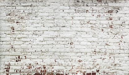 Stripped bricks red wall with paint in white