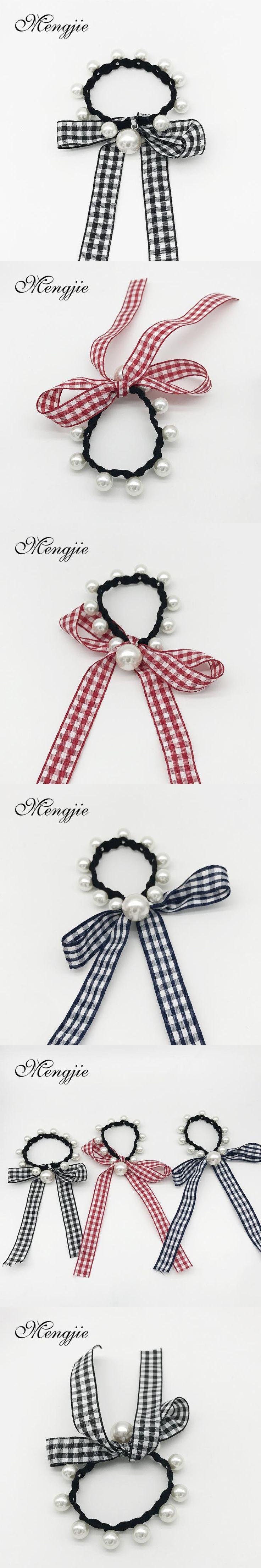 2017 elastic haar accessoires for women plaid ribbon imitation pearls hairband bowknot hair ornaments bandeau cheveux 5011