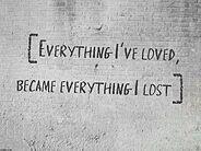 Everything I've loved became everything I lost.
