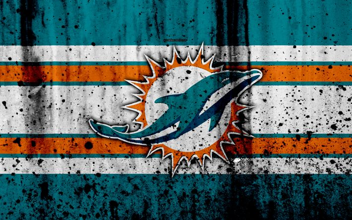 Download wallpapers Miami Dolphins, 4k, NFL, grunge, stone