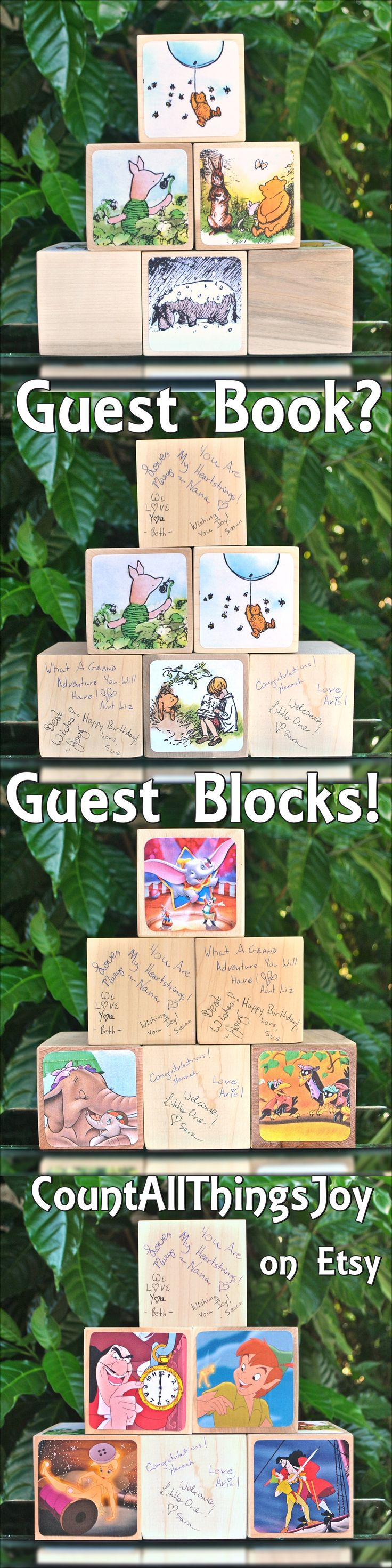 """Unique Guest Book idea for Baby Showers! Have attendees write their good wishes on the blank side of these large 3"""" blocks. Over 40 themes available from Count All Things Joy on Etsy at https://www.etsy.com/listing/533733275"""