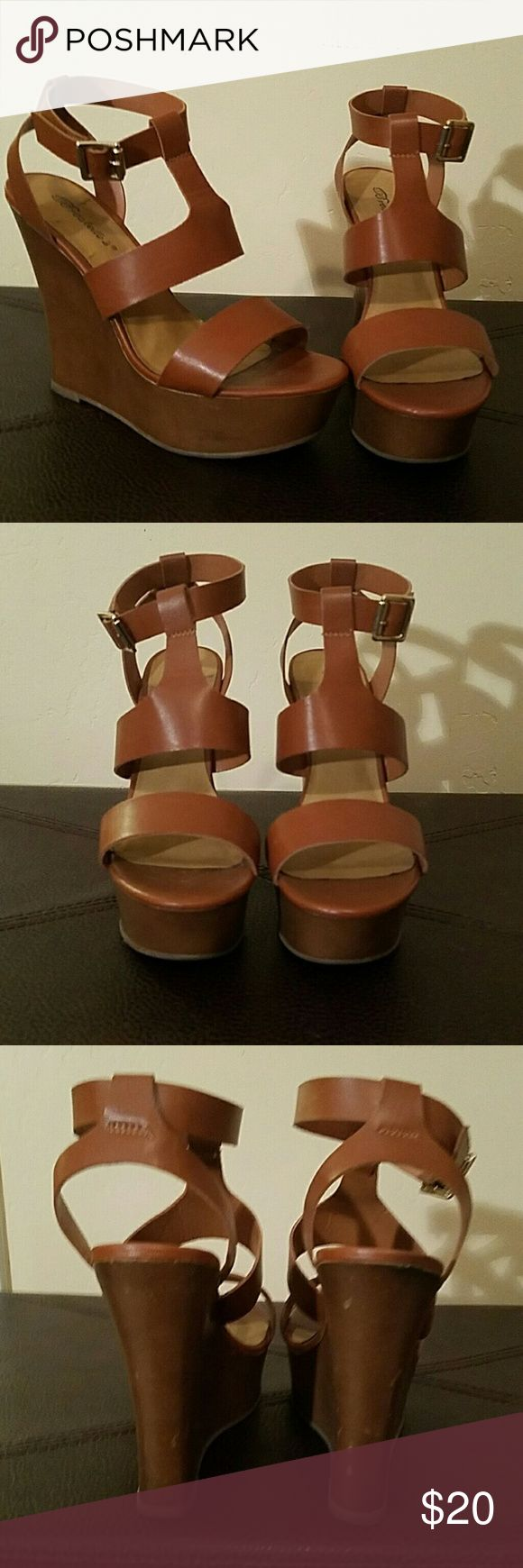 Tan Wedge sandals Tan Wedge sandals only been worn couple of times has few knicks on heel Breckelles Shoes Sandals
