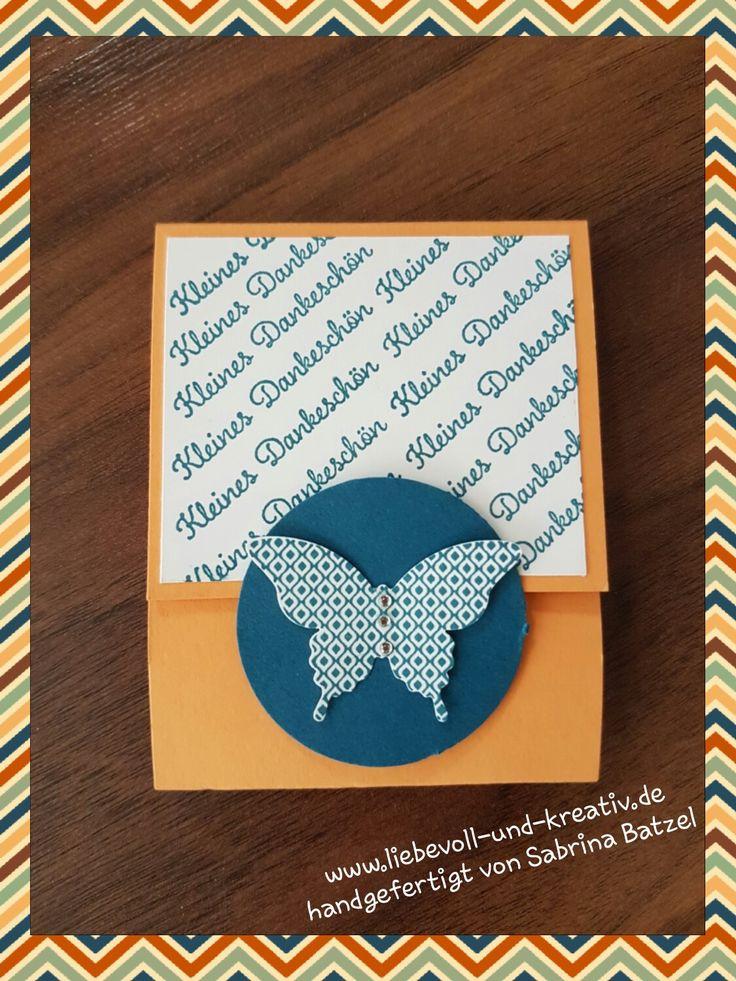 Goodie, Gastgeschenk Feodoratäfelchen, Schmetterling, Stampin'Up, kleines Dankeschön, Danke, Anleitung auf meiner Homepage