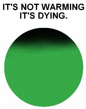 Milton Glaser revient avec un nouveau logo dédié à la lutte contre le réchauffement climatique. It's Not Warming, It's Dying et ses badges noirs ont été crées pour réveiller les consciences quant aux dangers du changement climatique sur l'environnement.