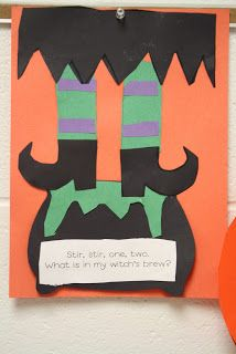 Kindergarten Korner: Witch's brew  Another idea is for the children to make a pattern for the witch's stockings and the cauldron could have a poem saying the pattern they made...AB ABB ABC