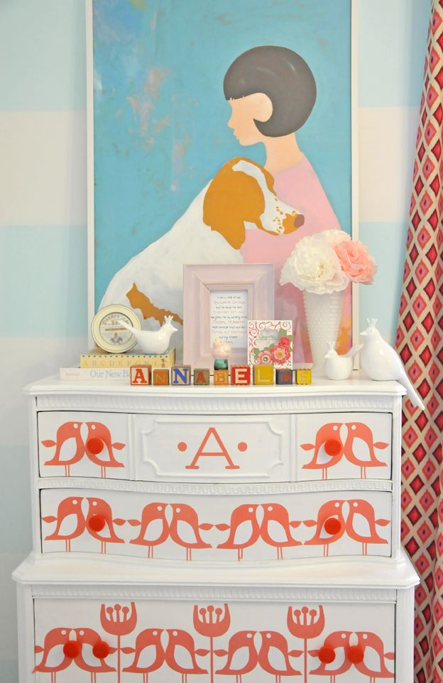 How adorable is this stenciled dresser? Adds character to the room! #pink #baby #nursery: Paintings Furniture, Ideas, Add Character, Pink Baby Nurseries, Furniture Projects, Stencil Furniture, Girls Rooms, Birds Patterns, Stencil Dressers