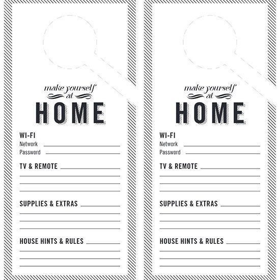 Make overnight guests feel at home with this door hanger that includes info they need for their stay.