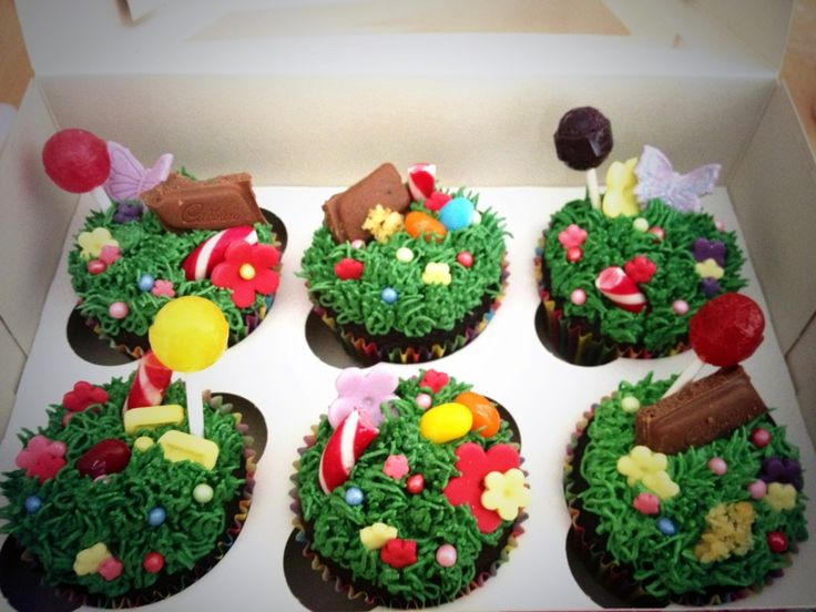 """""""Charlie and the chocolate factory"""" (the musical) cupcakes. Chocolate cake with a marshmallow and popping candy centre!"""
