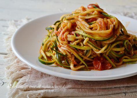 spaghetti di zucchine,primi con zucchine,ricette veloci con zucchine,zucchine senza cottura,le ricette di tina
