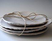 White Ceramic plates dessert plates, Handmade set of 4  Wedding gifts Organic shaped Handmade Tableware salad plates