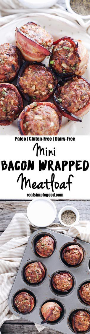 This mini bacon wrapped meatloaf recipe is a winner for many reasons! Mini… #21DSD