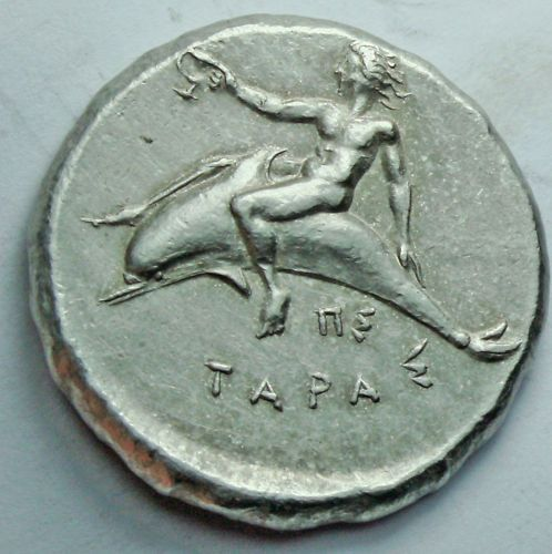 Ancient Greek silver coin DOLPHIN horse rider