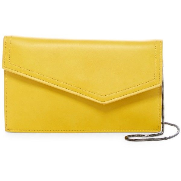 Urban Expressions Dharma Vegan Leather Envelope Clutch (33 AUD) ❤ liked on Polyvore featuring bags, handbags, clutches, mustard, yellow clutches, mustard yellow purse, yellow envelope clutch, envelope clutch bag and strap purse