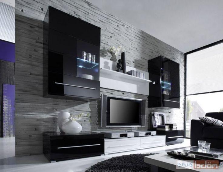 Deko Ideen Wohnzimmerschrank Wohnwand Magic 2 Schwarz Matt Edelstahl Mbiliade