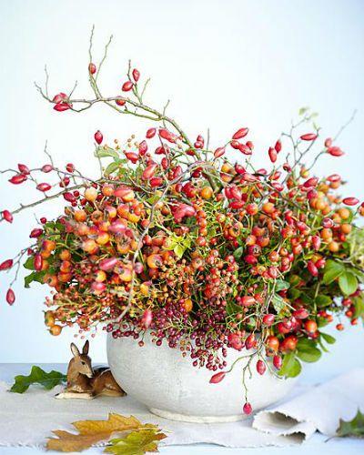 boeket met alleen rozenbottels in witte ronde vaas. Fotografie: Picturepress/Hollandse Hoogte