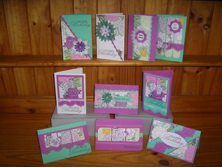 10 cards from 1 sheet of paper from the Garden Party range by Kaszazz.