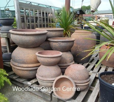 Large Old Stone Low Bowl Roll Top Garden Pots | Woodside Garden Centre |  Pots To