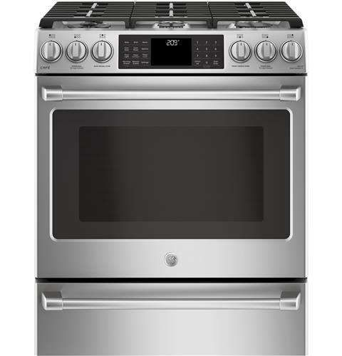 """Lowest price on GE C2S986SELSS Cafe 30"""" Stainless Steel Dual Fuel (Gas) Sealed Burner Range with Warming Drawer - Convection. Shop today!"""