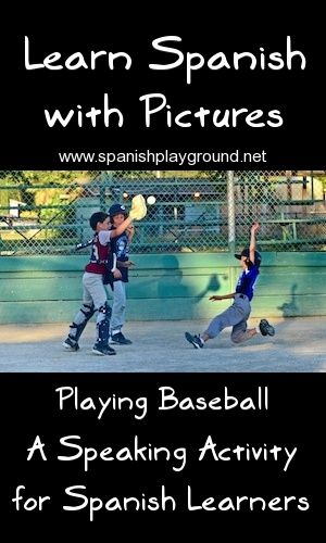 Description and questions about photo are structured to help kids master vocabulary and give them confidence. A fun, simple speaking activity. http://spanishplayground.net/learn-spanish-with-pictures-playing-baseball/