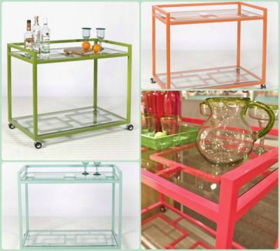 Hampton Bar Cart from Worlds Away in Pink. ON SALE!