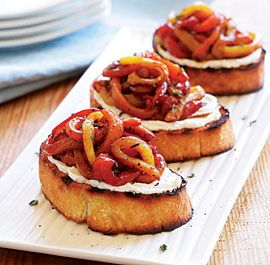 Grilled Goat Cheese Crostini with a Tangle of Marinated Roasted Peppers