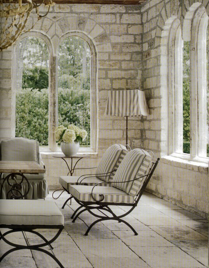Design Inspiration, Room Furniture, Outdoor Living, Stones Wall, Interiors Design, Living Room, Expo Bricks, Sun Room, Arches Windows