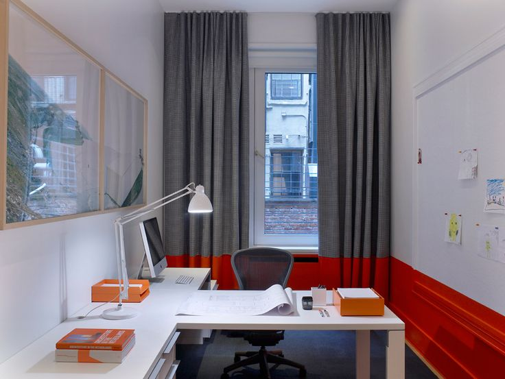Warren St. Triplex, New York | #office #red #grey #white