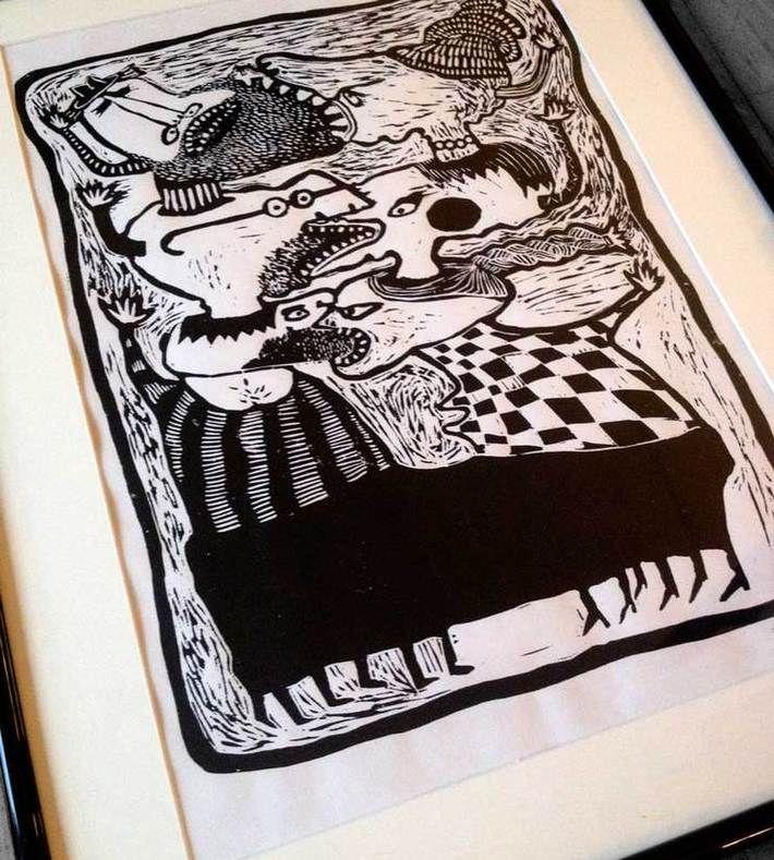 USUSUSandTHEMTHEMTHEM   Linocut 42cm x 29,7cm (A3)  Framed + passe-partout  (40cm x 50cm with frame)