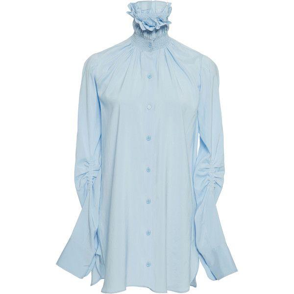 Carven Smocked Collar Shirt (13 525 UAH) ❤ liked on Polyvore featuring tops, blue, smock top, button up collared shirts, blue collar shirt, button down shirt and relaxed fit shirt