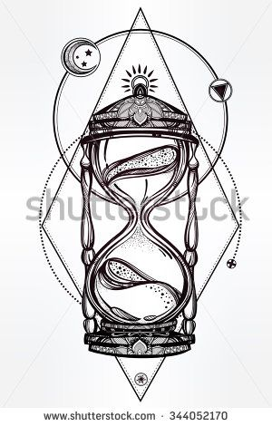 Hand drawn romantic beautiful drawing of a hourglass. Vector illustration isolated.