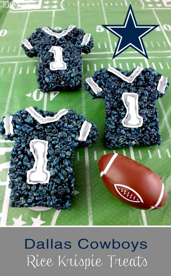 These Dallas Cowboys Rice Krispie Treats Team Jerseys are a fun dessert for a game day football party, an NFL playoff party, a Super Bowl party food or as a special snack for the  Dallas Cowboys fans in your life.  For more fun Rice Krispie Treats ideas follow us at http://www.pinterest.com/2SistersCraft/
