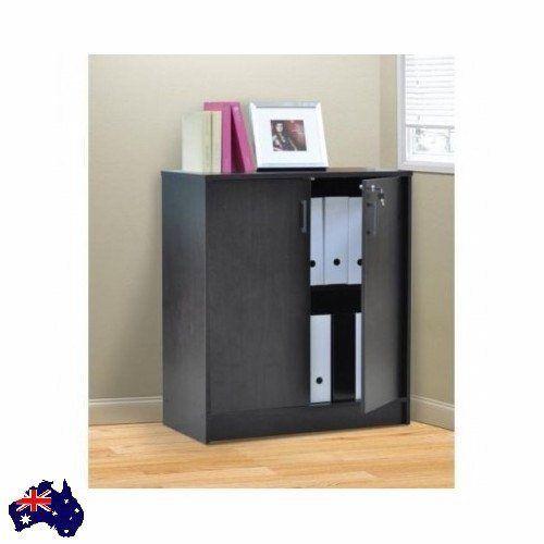 ... Cabinet Cupboard 2 Door Bookcase 2 Shelf Brown Wooden Home Files More