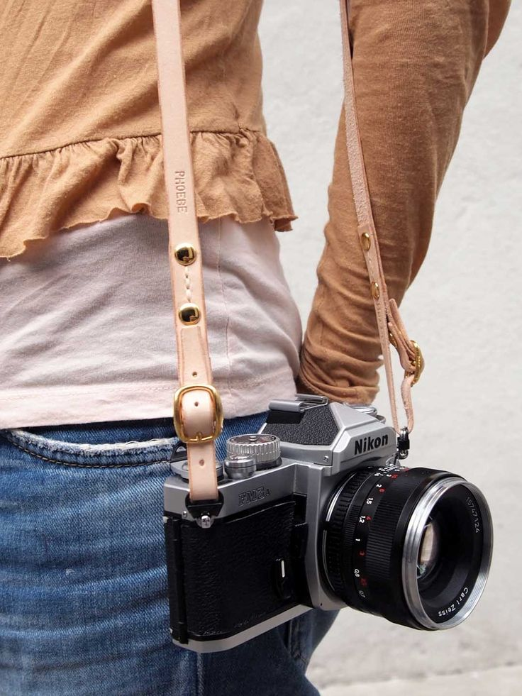 Personalized Camera Neck Strap with Adjustable Length - Leather - Nude - Hand Stitched. $89.00, via Etsy.