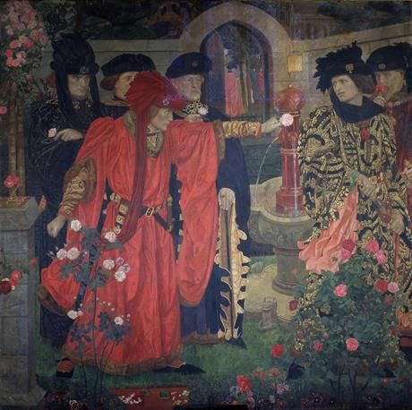 Plucking the Red and White Roses in the Old Temple Gardens. By Henry Albert Patne (c.1910) Earl of Somerset (right) challenged by Richard Plantagenet, later Duke of York; supposed origin of the Wars of the Roses; Richard Duke of York (1411-60); Edmund Duke of Somerset (1406-55)
