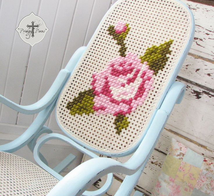 Shabby Chic Bentwood Rocking Chair with Hand-Embroidered Rose via Prodigal Pieces