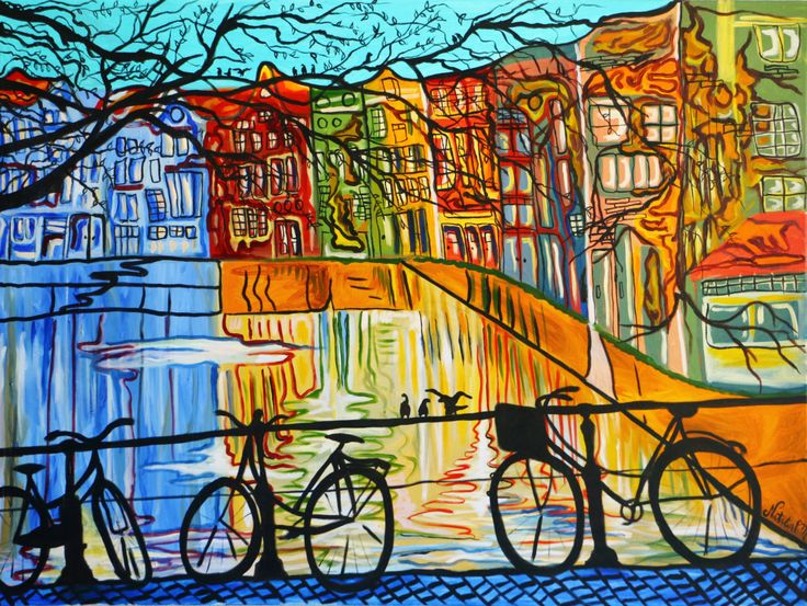 Space Cake Amsterdam Oil Painting 48x36 by NataliaPMFineArt on Etsy