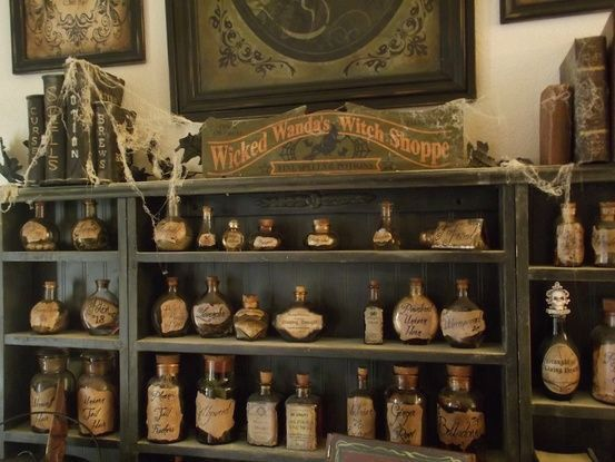 this is the coolest witch shop ive ever seen much inspiration to be drawn from this photo - Halloween Kitchen Decor