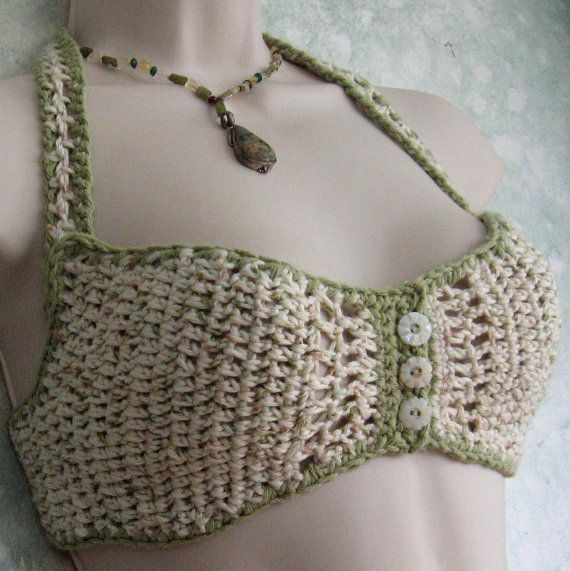 Crochet Bra Pattern Women's Summer Bra Button por kalliedesigns