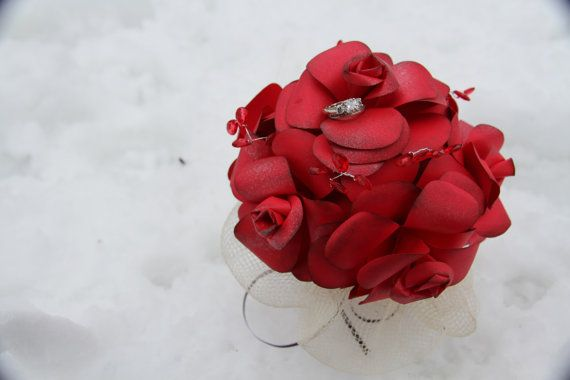 Red rose paper flower red crystal brown ribbon by 2CLVR4UDESIGNS, $65.00