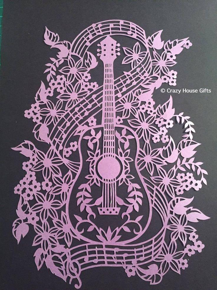 Papercuts framed papercut Framed Guitar от Crazyhousegifts на Etsy