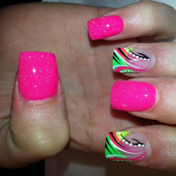 Bright Lime green with pink and black. That looks amazing just can't do - Best 25+ Bright Nail Designs Ideas On Pinterest Pretty Nails