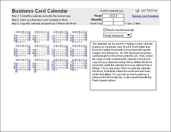Download the Business Card Calendar from Vertex42.com