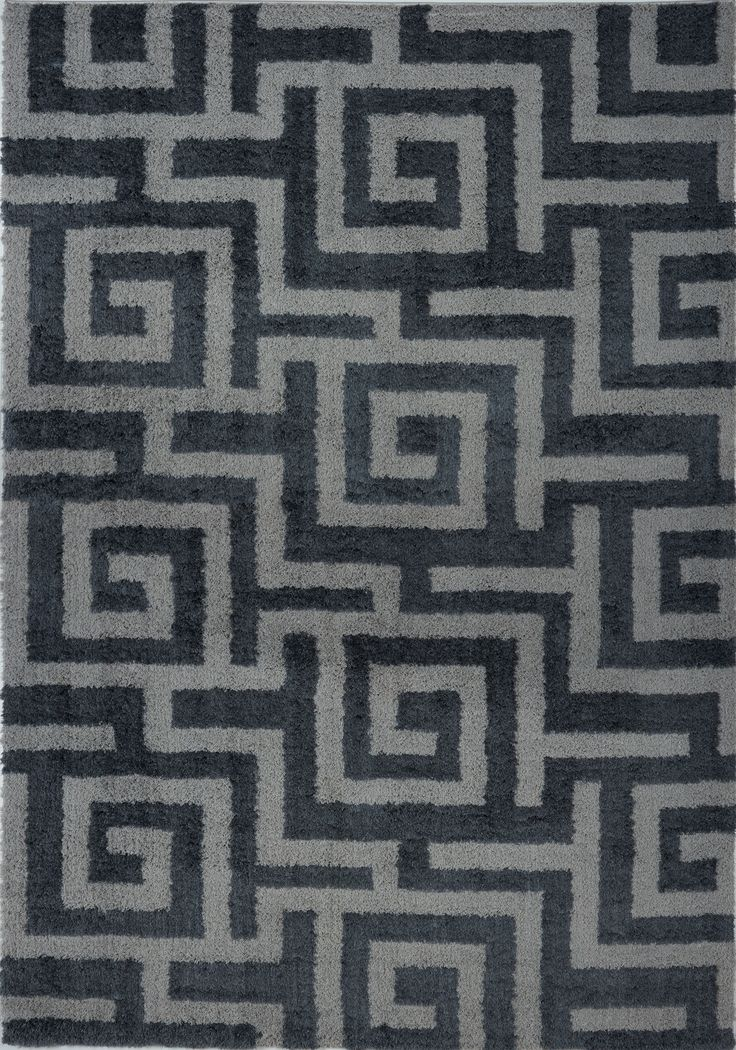 Calgary Shaggy Micro-Polyester - Maze design rug #area #rugs #grey #darkgrey #stylish #soft #comfortable #bedroomdecor