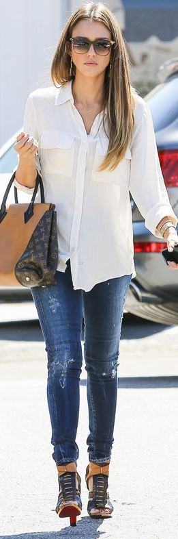 Who made Jessica Alba's brown sunglasses, white button down shirt, two tone handbag, and sandals that she wore in Los Angeles on September 24, 2013?