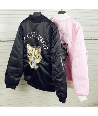 Do Cats Pray? Bomber - $33.00 http://itgirlclothing.com/clothing/outwear/cat-embroidery-baseball-jacket