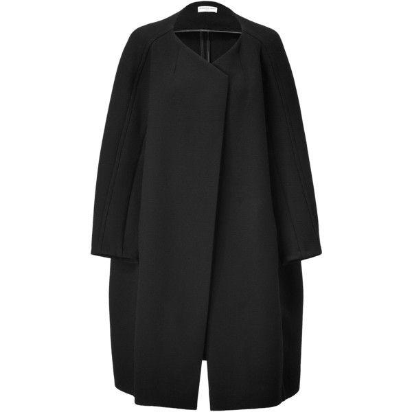 VERONIQUE LEROY Black Oversized Wool Coat ($2,105) ❤ liked on Polyvore