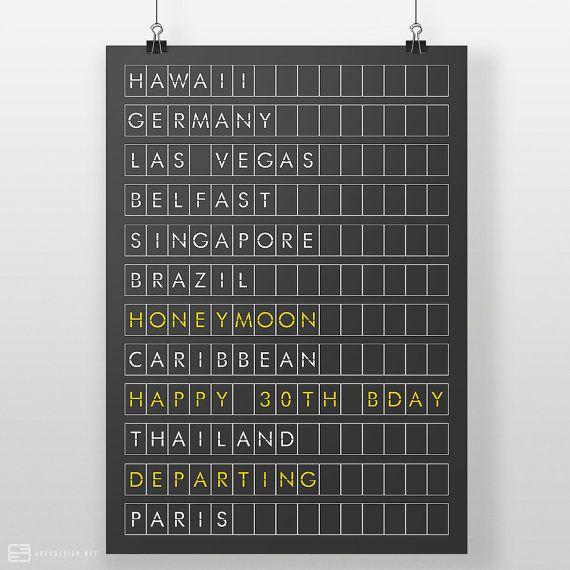 Personalised Airport Board Print Departures Board by CEEDdesigns