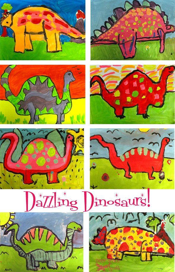 Directed drawing of 3 different dino shapes and then let them paint!