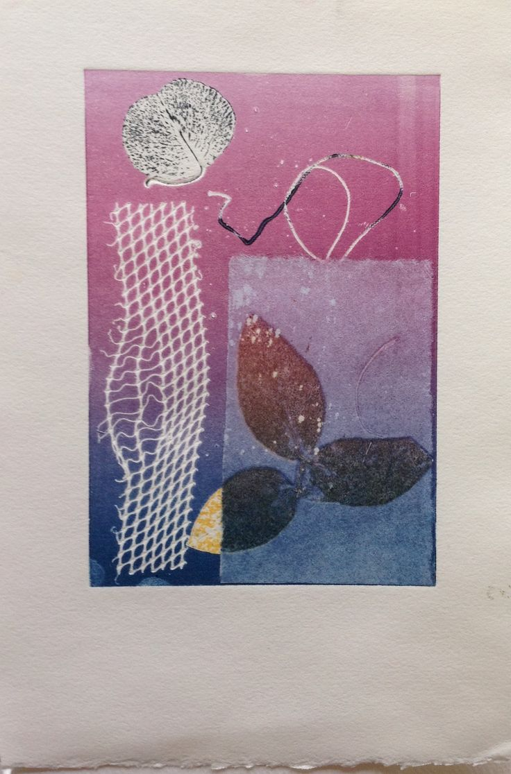 Still Life, leaves with net: Monoprint with Chine Colle. Image size 12.5cm x 19cm